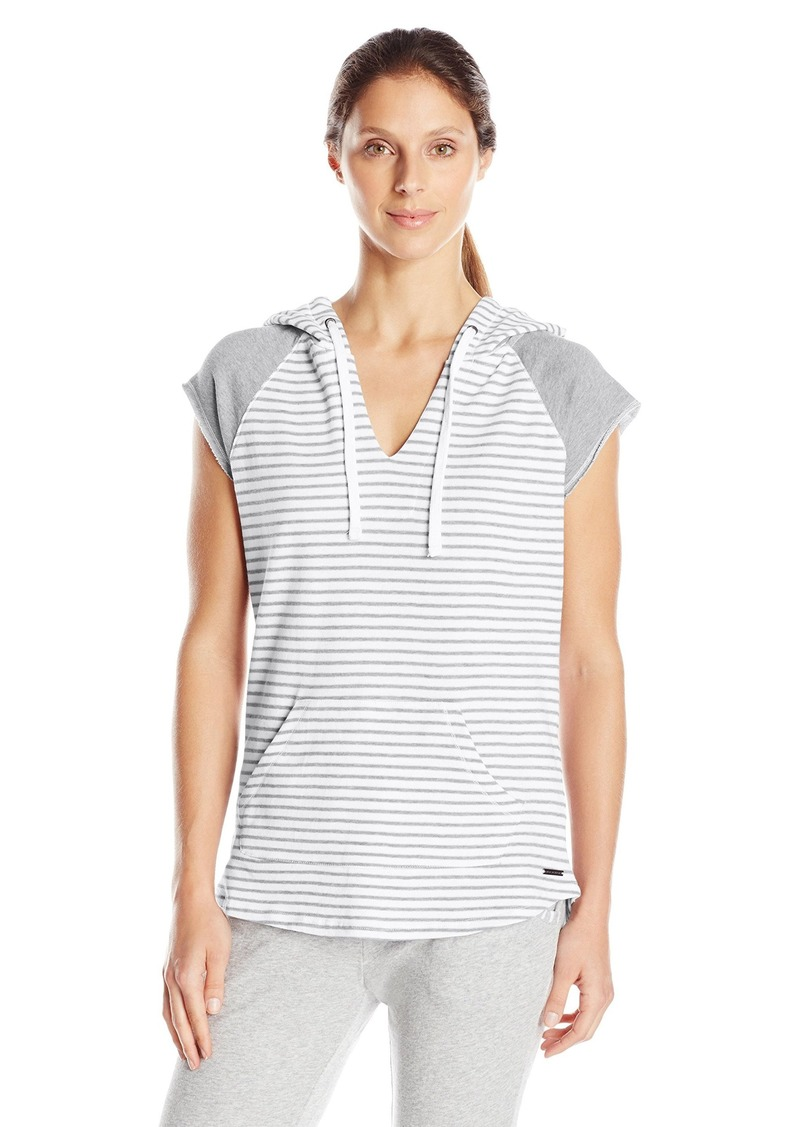 Marc New York Performance Women's Stripe Hooded S/Split Front Pullover Light Grey Heather