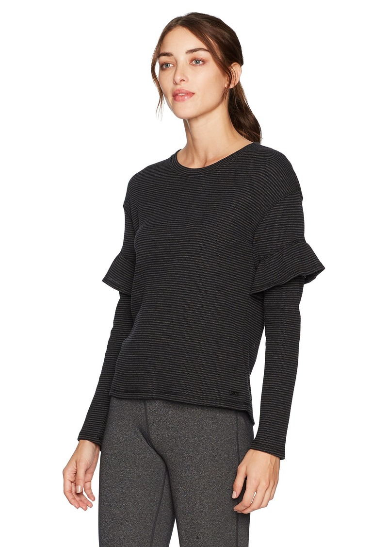 Marc New York Performance Women's Striped Long Sleeve Thermal Ruffle Top  S