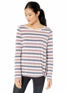 Marc New York Performance Women's Washed Long Sleeve Stripe Faux Knot