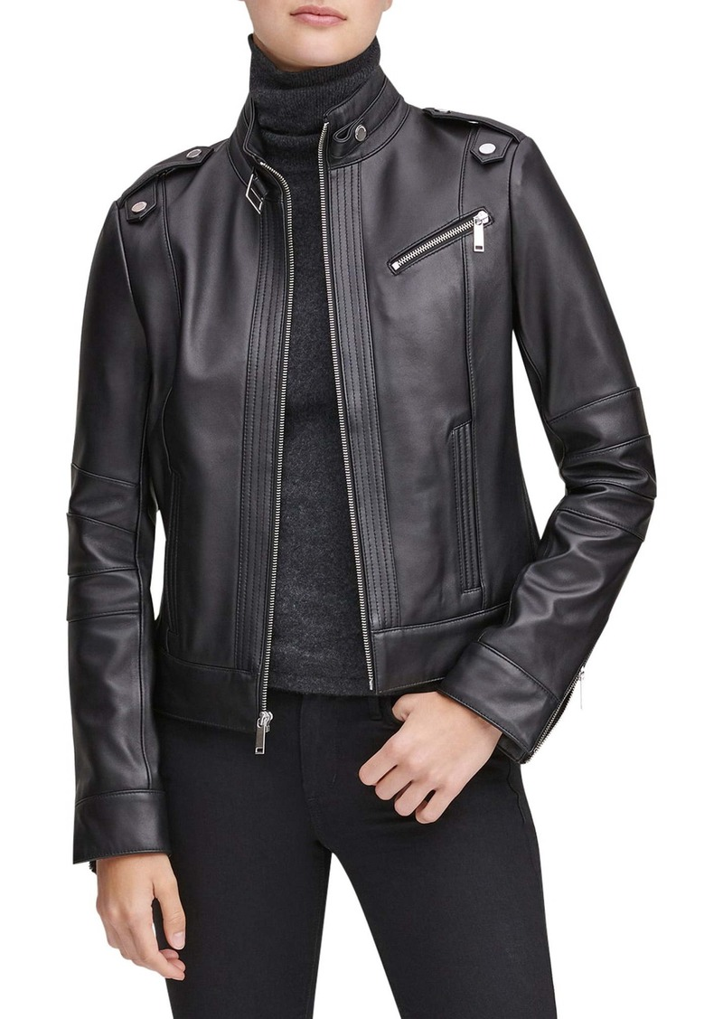 Marc New York Stand Collar Leather Moto Jacket