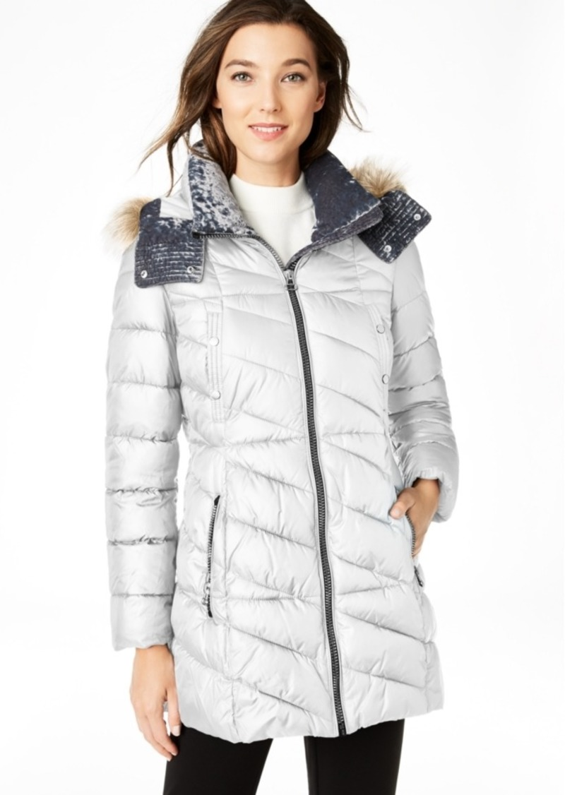 Marc New York Velvet-Trim Faux-Fur Hooded Puffer Coat