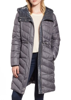 Marc New York Velvet Trim Quilted Coat