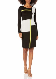 Marc New York Women's Long-Sleeve Printed Sweater Shift Dress