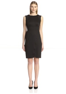 Marc New York Women's Sheer Trim Uneven Hem Sheath Dress