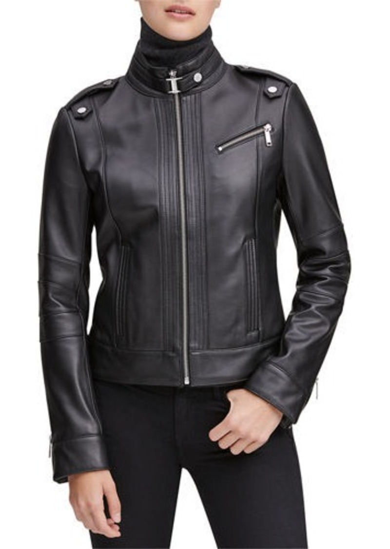 Marc New York Rego Leather Stand Collar Moto Jacket