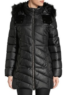 Marc New York Shirley Velvet-Trim Quilted Parka Coat with Faux-Fur Hood