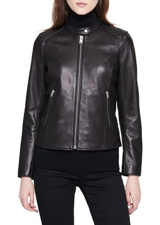 Marc New York Stand-Collar Quilted-Shoulder Leather Moto Jacket