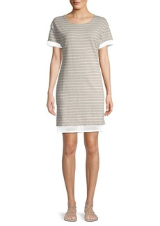Marc New York Striped Cotton Blend T-Shirt Dress
