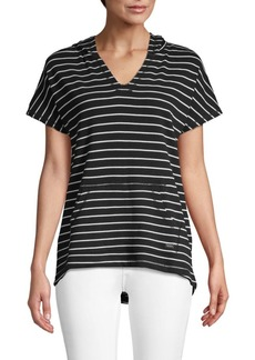 Marc New York Striped Hooded Cotton Top