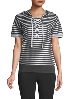Marc New York Striped Lace-Up Hooded Sweatshirt