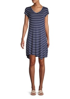 Marc New York Striped V-Neck Shirt Dress