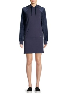 Marc New York Velvet-Sleeve Hooded Sweatshirt Dress