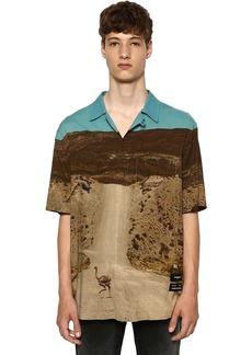 Marcelo Burlon All Over Ostrich Print S/s Viscose Shirt