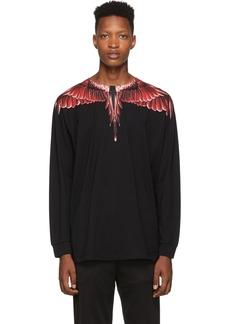 Marcelo Burlon Black Red Ghost Wings Long Sleeve T-Shirt