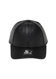 Marcelo Burlon Cross Logo Starter Faux Leather Cap