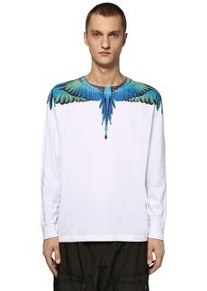 Marcelo Burlon Printed Wings Cotton Jersey Ls T-shirt