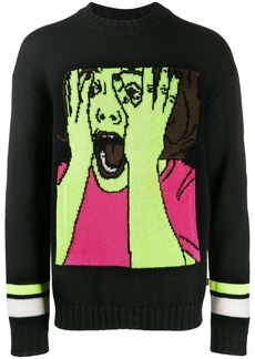 Marcelo Burlon scream intarsia knitted jumper