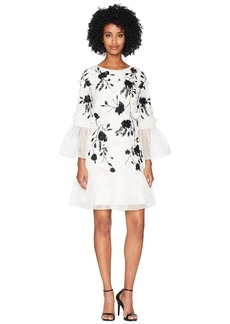 Marchesa 3/4 Sleeve All Over Beaded Tunic w/ 3D Flowers and Organza Ruffles