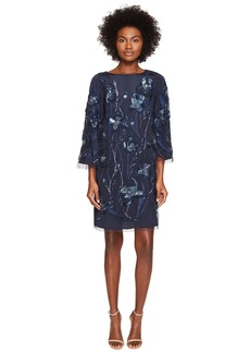 Marchesa 3/4 Sleeve Tunic Dress w/ Embroidery Detail