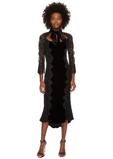 Marchesa 3/4 Sleeve Velvet Lace Cocktail Dress