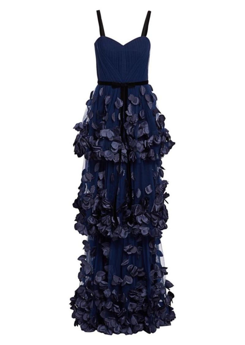 Marchesa 3D Floral Appliqué Tiered Gown