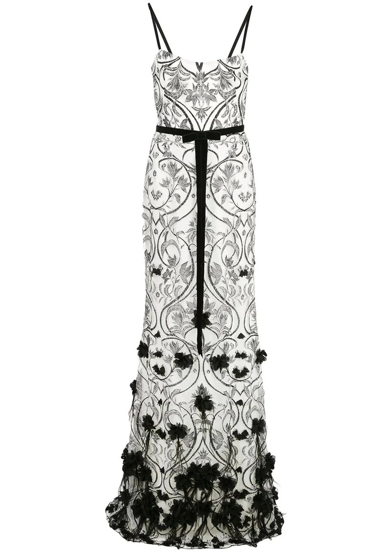 Marchesa 3D floral feather gown