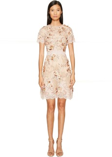 Marchesa A-Line Cocktail in Tulle with Floral Embroidery