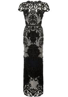 Marchesa appliquéd embroidered column gown