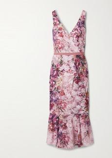 Marchesa Appliquéd Floral-print Tulle Midi Dress