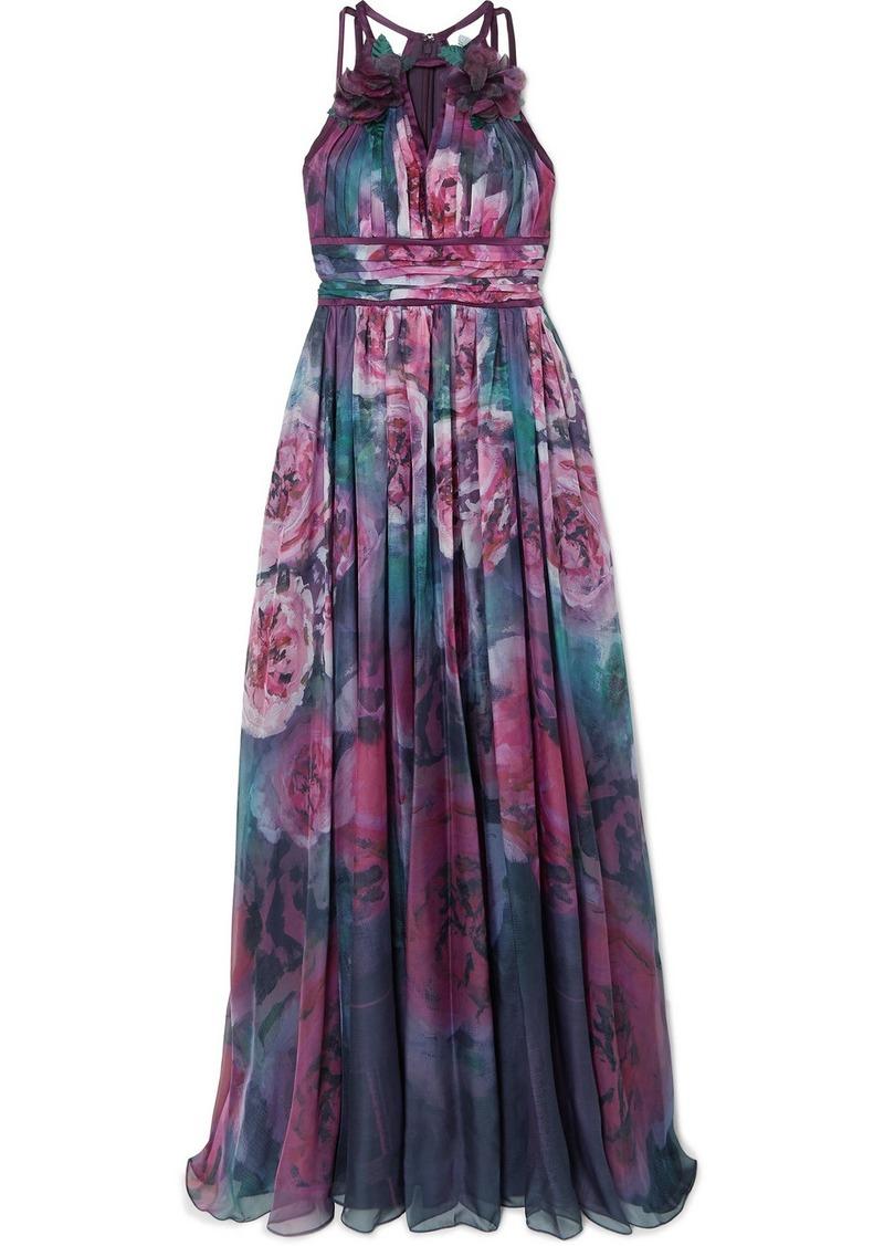 Marchesa Appliquéd Pleated Floral-print Chiffon Gown