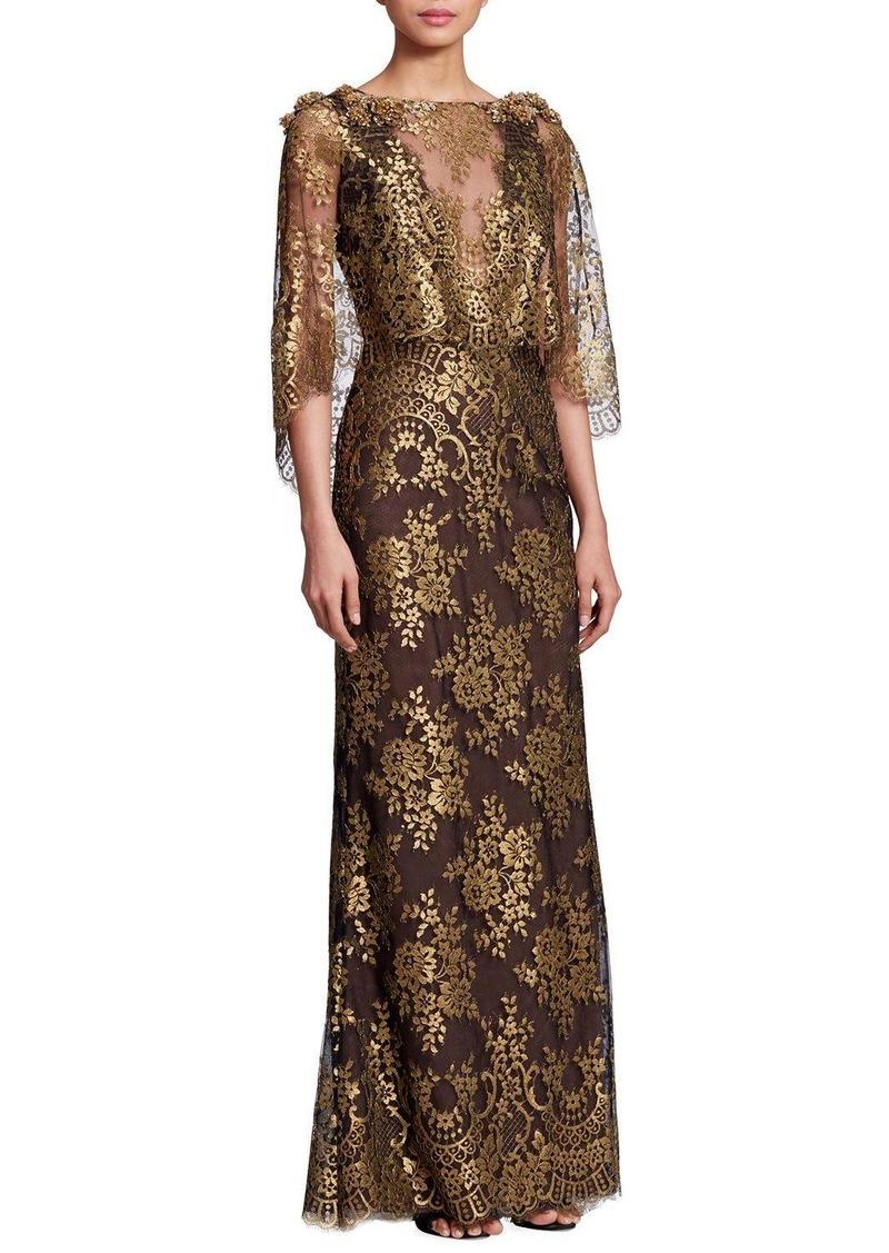 Marchesa Bateau-Neck 3/4-Sleeve Metallic Chantilly Lace Evening Gown ...
