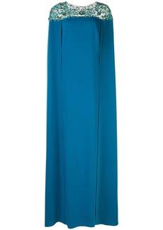 Marchesa beaded cape evening dress