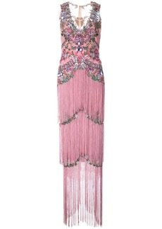 Marchesa beaded fringe evening gown