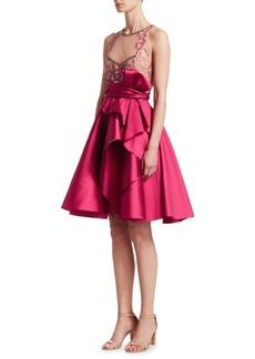 Marchesa Beaded Satin Cocktail Dress