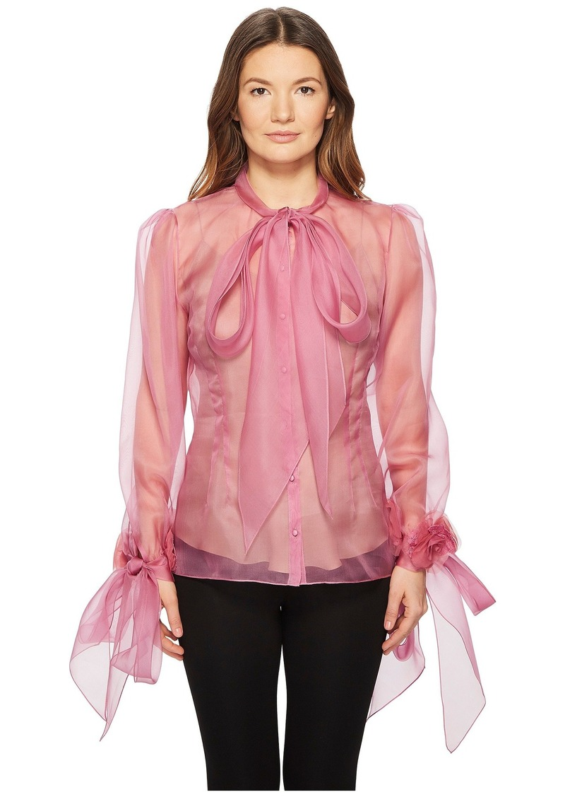 Marchesa Blush Silk Organza Blouse