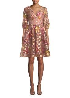 Marchesa Bubble-Sleeve Fil-Coupe Dress