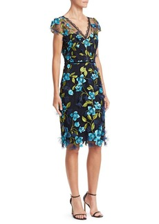 Marchesa Cap Sleeve 3D Floral Sheath Dress