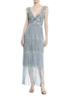 Marchesa Cap-Sleeve Beaded Fringe Dress