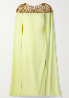 Marchesa Cape-effect Embellished Tulle And Crepe Midi Dress
