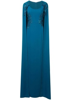 Marchesa cape-effect embroidered gown