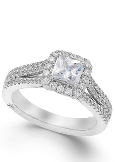 Celeste Halo by Marchesa Certified Princess Cut Diamond Engagement Ring (1-1/5 ct. t.w.) in 18k White, Yellow or Rose Gold, Created for Macy's