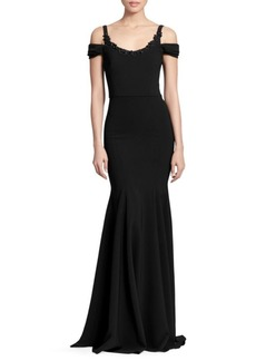 Marchesa Cold-Shoulder Embellished Gown