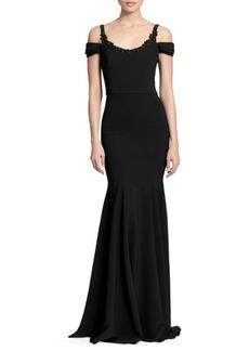 Marchesa Cold-Shoulder Embellished Gown