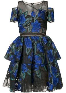 Marchesa cold-shoulder floral-embroidered dress