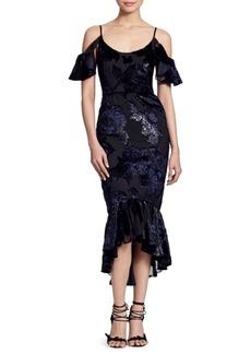 Marchesa Cold Shoulder Hi-Lo Metallic Midi Dress