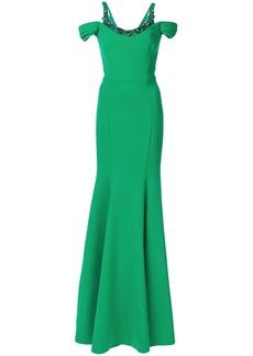 Marchesa cold shoulder stretch crepe gown