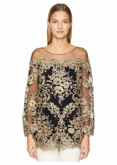 64fc6cc56bbdb Marchesa Corded Lace Off the Shoulder Tunic with 3 4 Length Sleeves