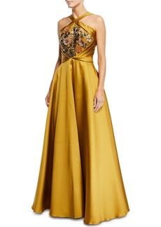 Marchesa Crisscross Halter Beaded Ball Gown