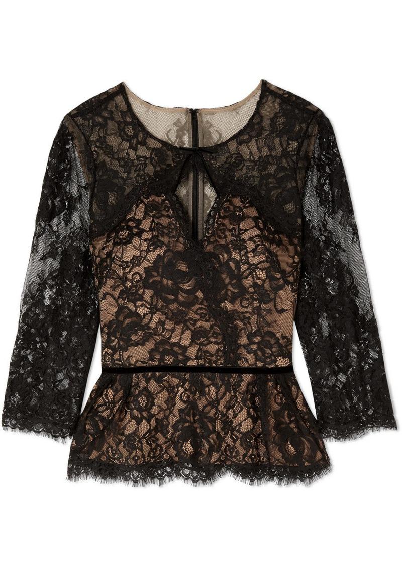 Marchesa Cutout Corded Lace Blouse