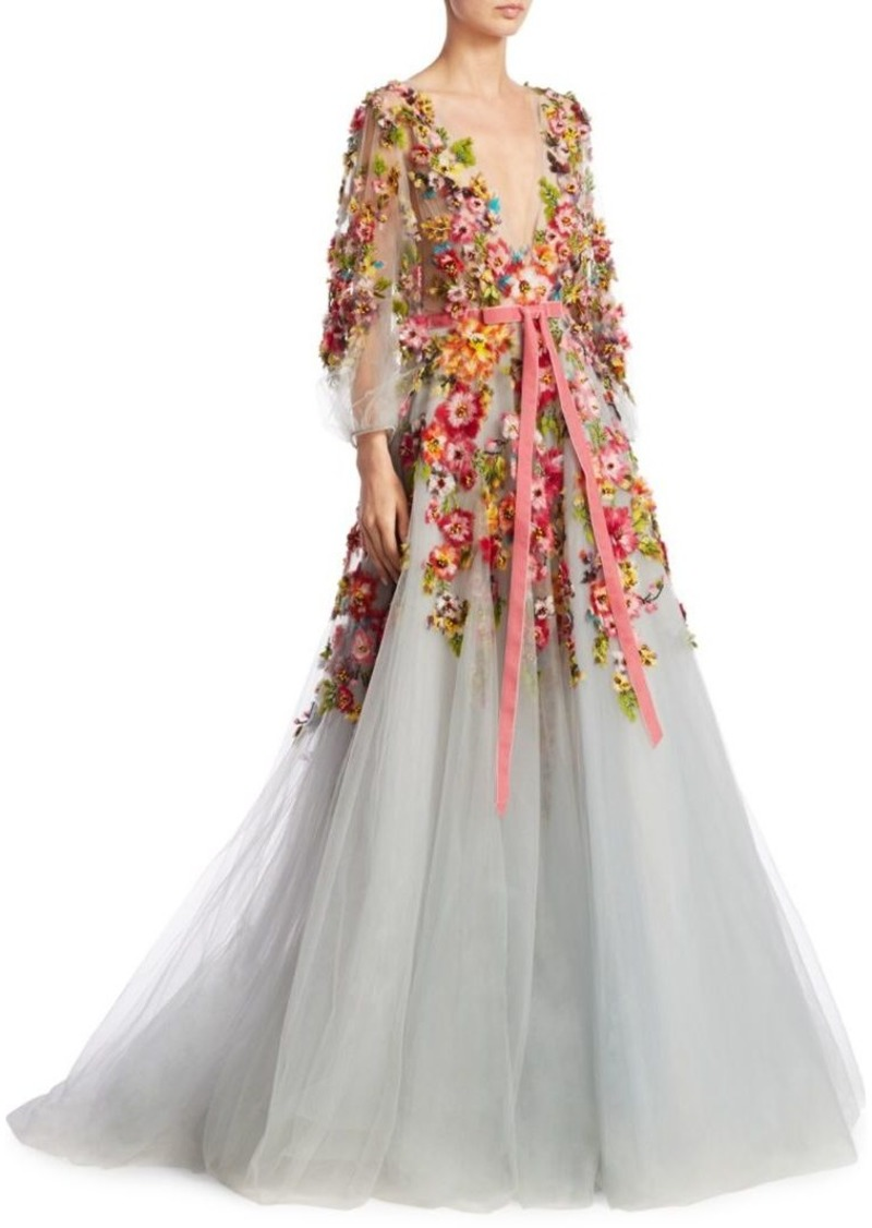 64705d46eff6 Marchesa Deep V Floral Applique Gown